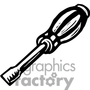 Royalty Free Black And White Screwdriver Clipart Image Picture Art