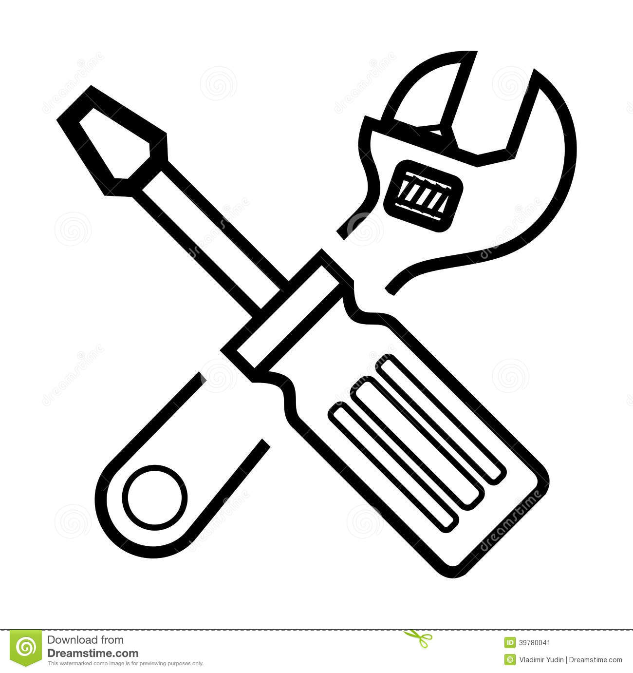 Screwdriver Clipart Black And White Screwdriver And Wrench Stock