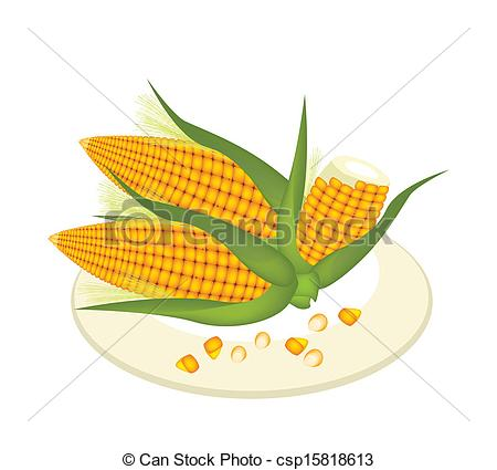 Vector   A Plate Of Fresh Corn And Kernel Corn   Stock Illustration