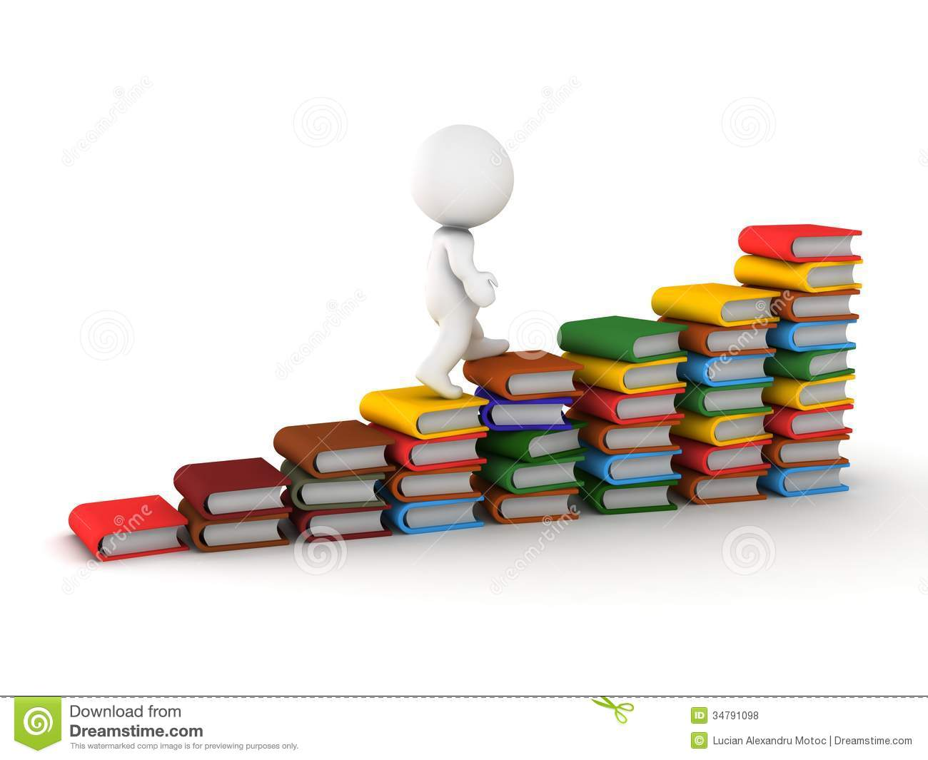 3d Man Climbing Stairs Made Of Books Royalty Free Stock Photos   Image