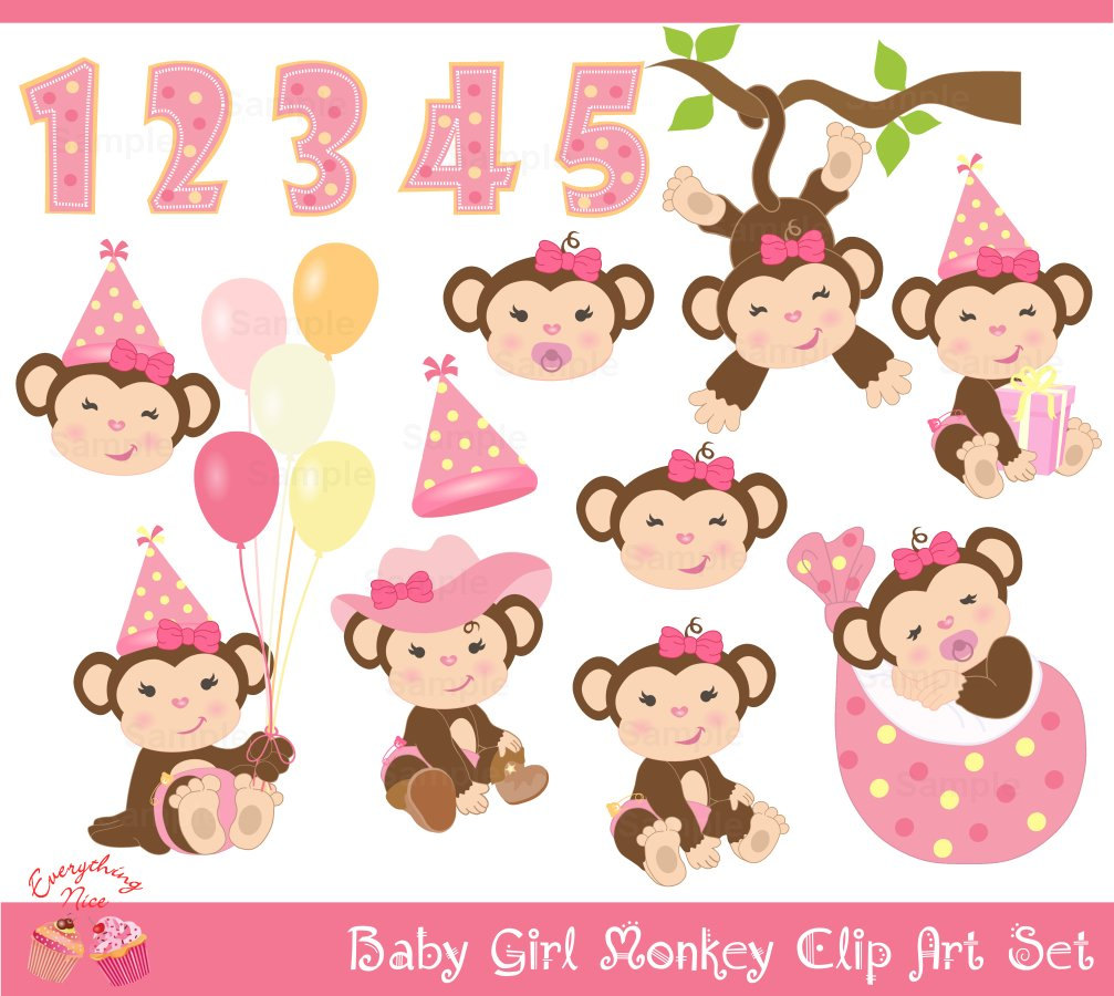 Baby Girl Monkey Clip Art Set By 1everythingnice On Etsy