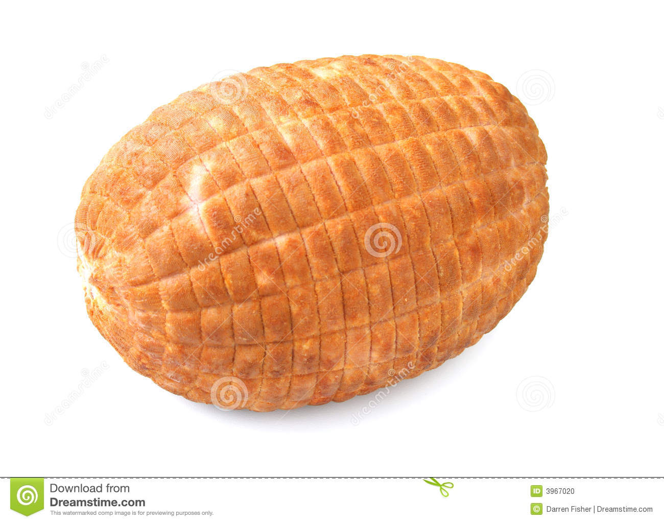 Baked Ham Isolated On A White Background