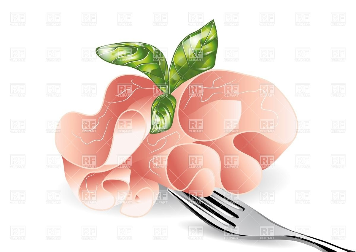 Baked Ham On Fork Download Royalty Free Vector Clipart  Eps