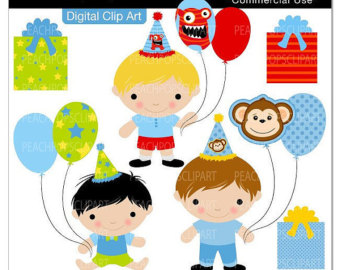 Birthday Clip Art Digital Clipart Child Baby Party Monster   Lil