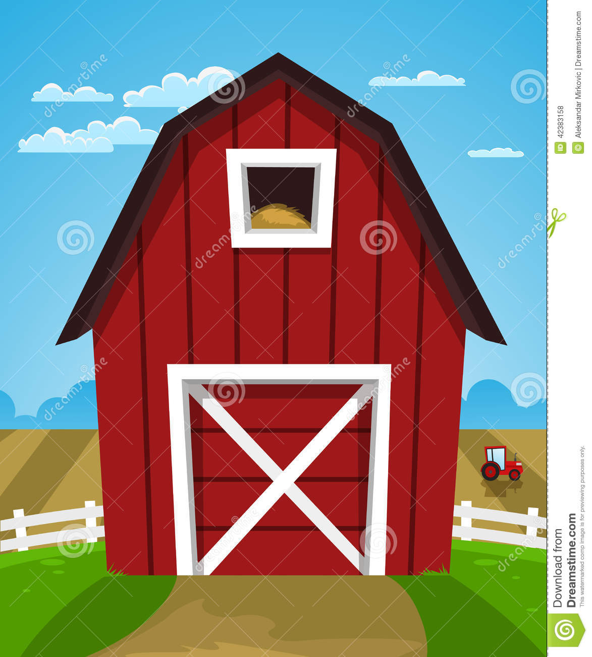 Cartoon Illustration Of Red Farm Barn With Tractor