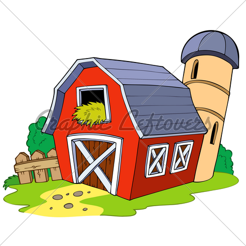 Cartoon Red Barn Vector Illustration