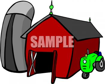 Cartoon Tractor Parked Next To A Barn   Royalty Free Clip Art Picture