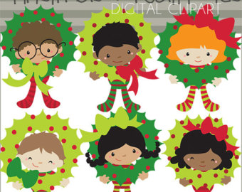 Christmas Clip Art Wreath Kids  Pe Rsonal And Commercial Use  Children