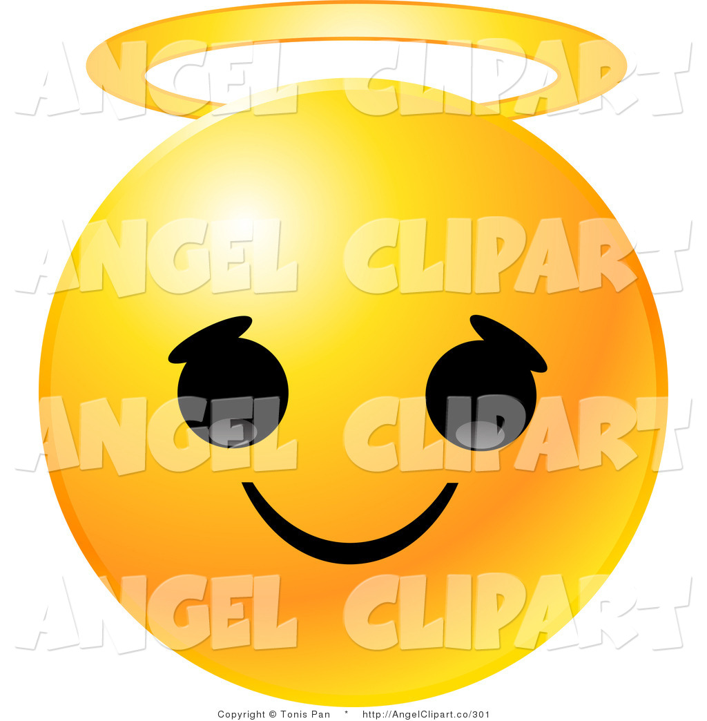Clip Art Of A Cute Yellow Emoticon Face With An Innocent Expression