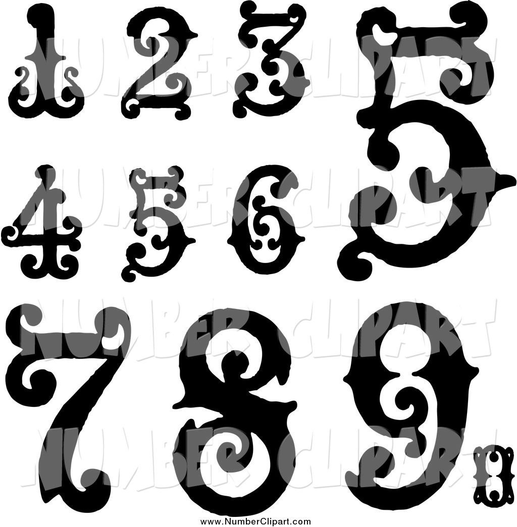 Clip Art Of Black And White Vintage Digit Numbers By Bestvector    495