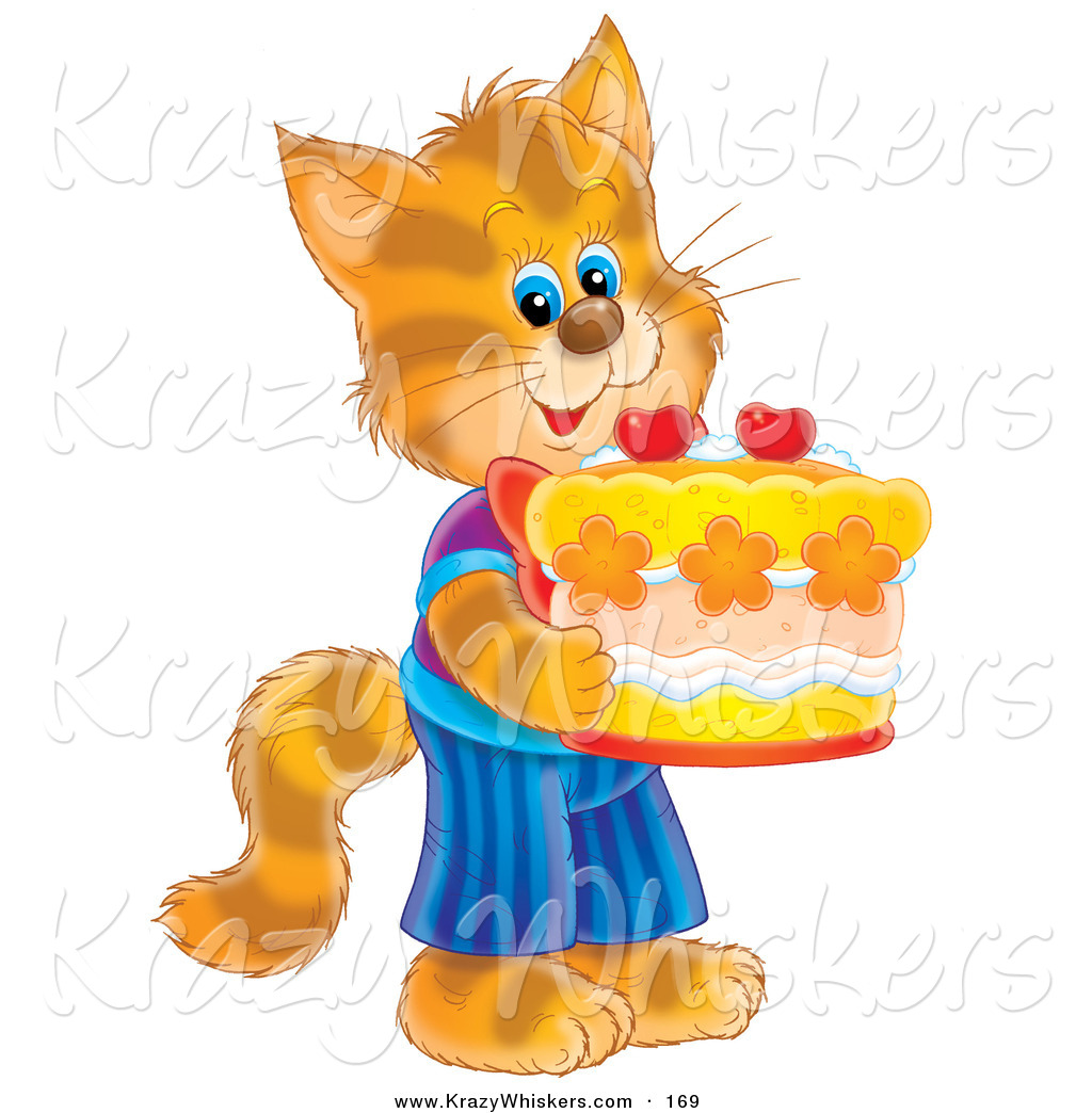 Critter Clipart Of A Happy And Cute Striped Kitty Cat In Clothes