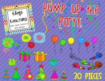 Cute Party Clipart   Perfect For The 100th Day Or New Years