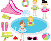 Digital Clipart   Girls Pool Party For Scrapbooking Invitations