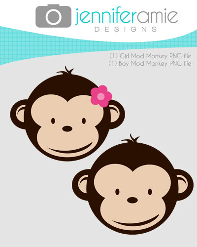 Girl And Boy Mod Monkey Clipart For Personal Use Only 11x14 In  300