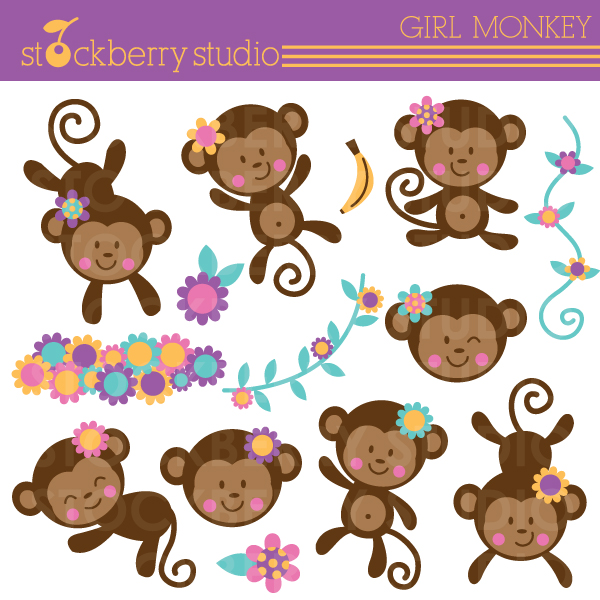 Girl Monkey Clipart Set  14 Clipart Designs