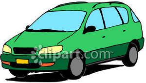 Green Minivan   Royalty Free Clipart Picture