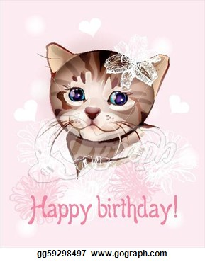 Happy Birthday Greeting Card With Little Kitten On The Pink Background