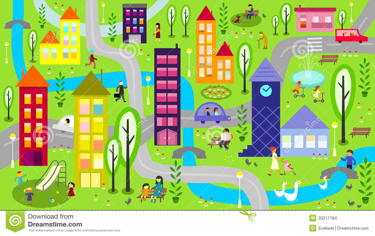 Illustration Represents Colorful City Scene At Daytime With River