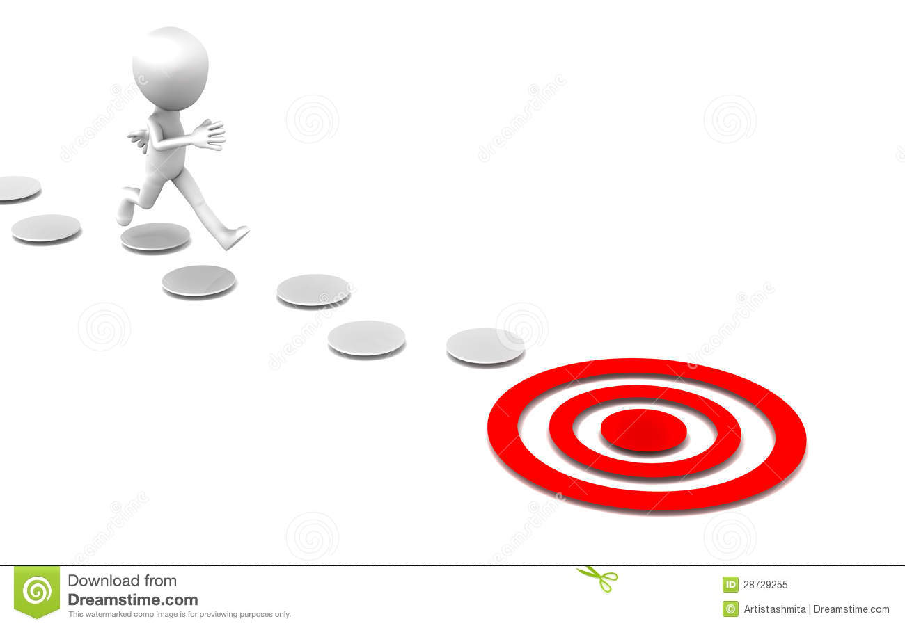 Little 3d Man Jumping Over Small Steps To Reach A Red Target