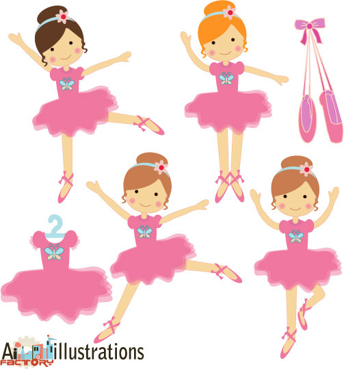Pink Little Ballerina Dancing Tutu Graphics Clipart Set For Graphic