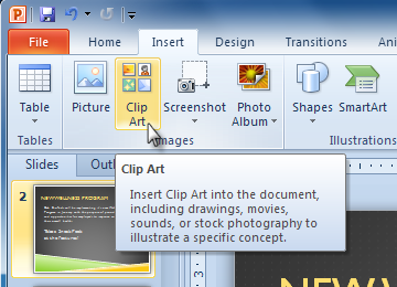 Select The Insert Tab  Click The Clip Art Command In The Images Group