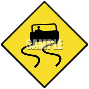 Slippery Road Sign   Royalty Free Clipart Picture