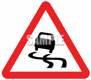 Slippery When Wet Road Sign   Royalty Free Clipart Picture