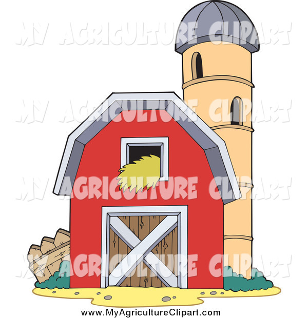 Vector Cartoon Agriculture Clipart Of A Red Barn And Silo Granary By