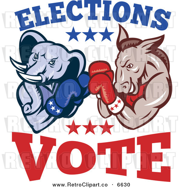 Vector Clipart Of A Retro Democratic Donkey And Republican Elephant