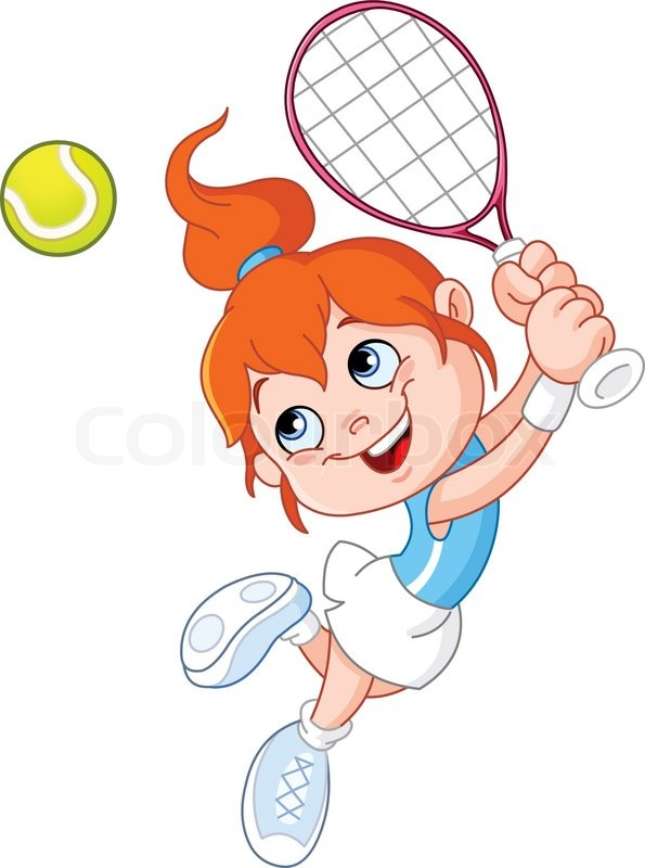 Young Girl Playing Tennis   Vector   Colourbox