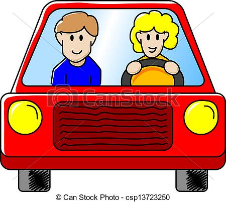 Clipart Vector Of Driving The Car   Vector Illustration Of A Woman And