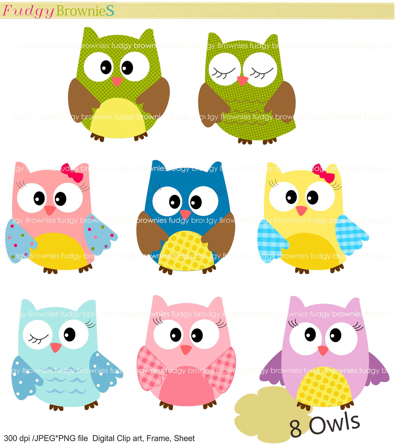 Digital Clip Art Set Owls Clip Art For By Fudgybrownies On Etsy