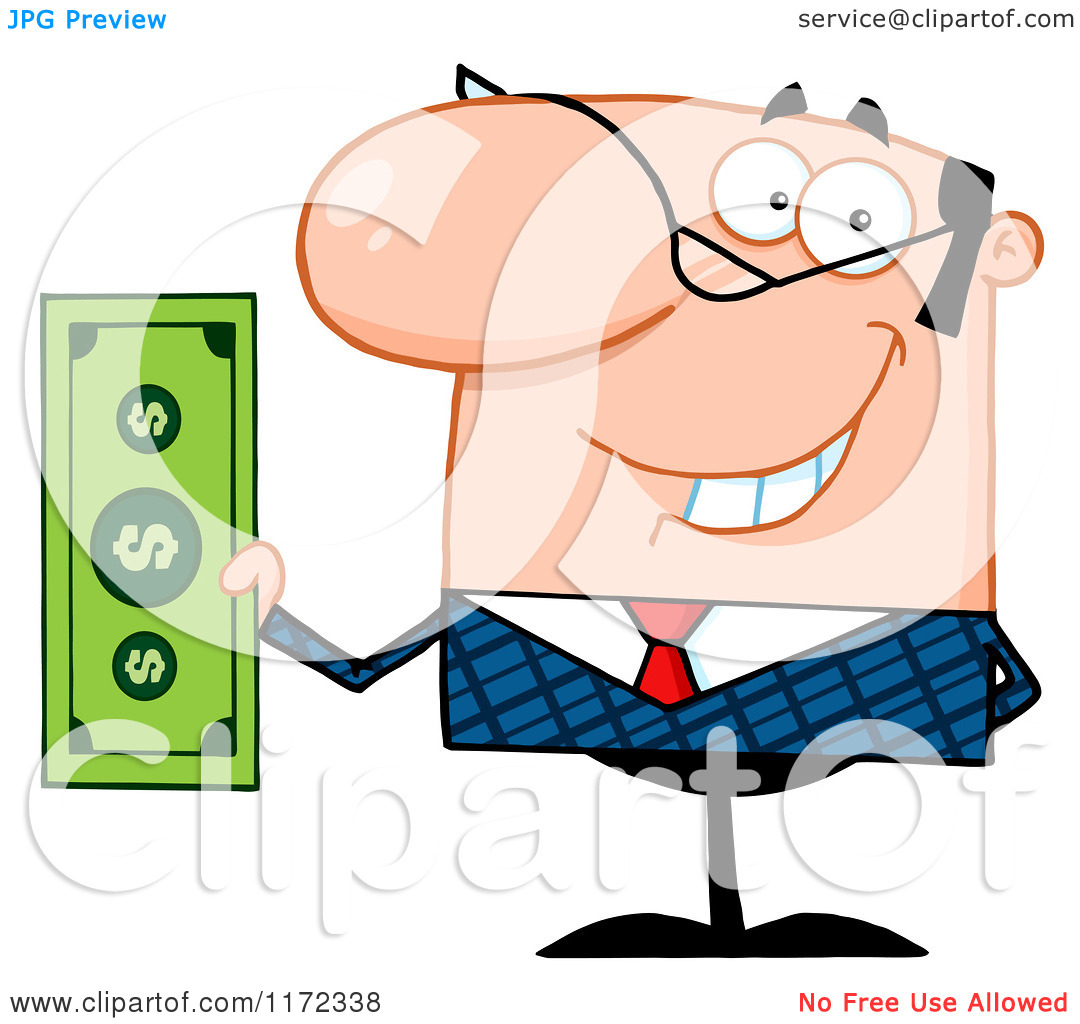 Payroll Clipart Cartoon Of A Smiling Caucasian Businessman Holding