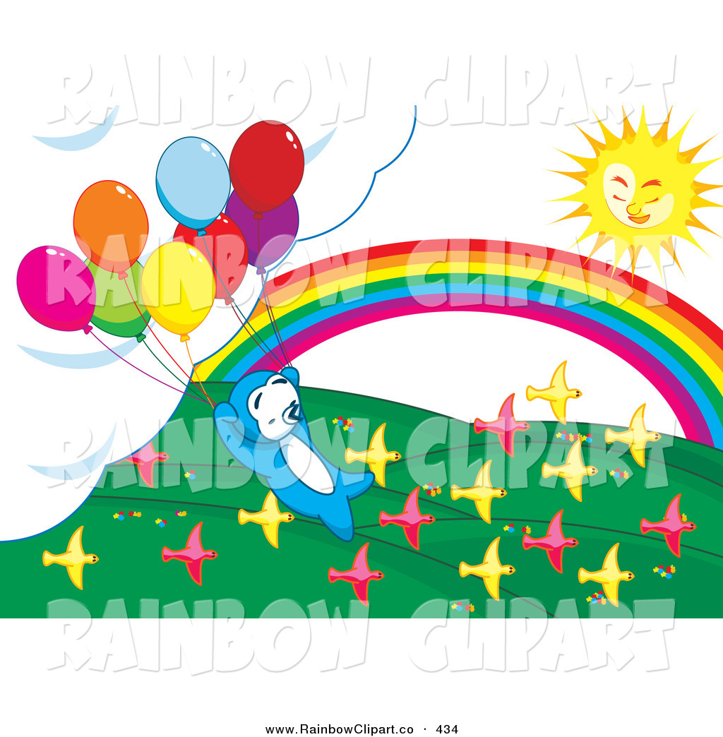 Pin Clipart Rainbow With Clouds Raining Colors Over Blue Royalty Free