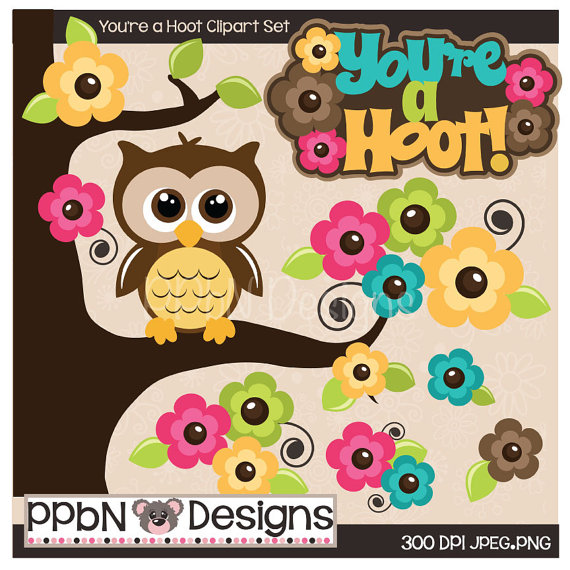 You Re A Hoot Owl Digital Clipart For Card Design Web Designs
