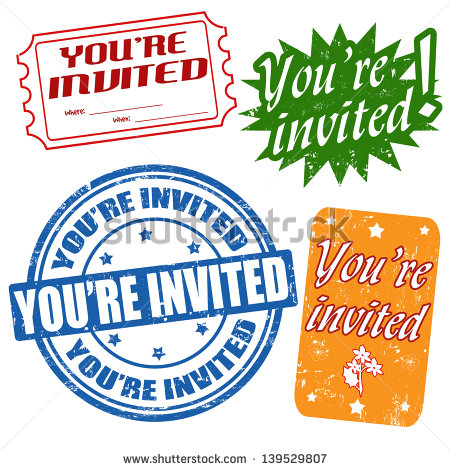 You Re Invited Set Of Grunge Stamps Vector Illustration   Stock