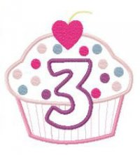 3rd Birthday Cup Cake Applique Design 3rd Birthday Cup Cake Applique