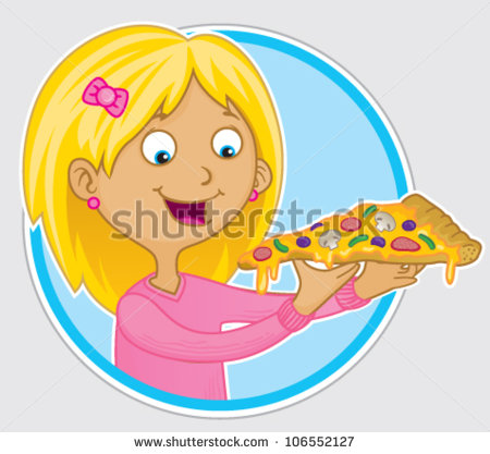 Animals Eating Pizza Clipart Hungry Blonde Girl Eating A