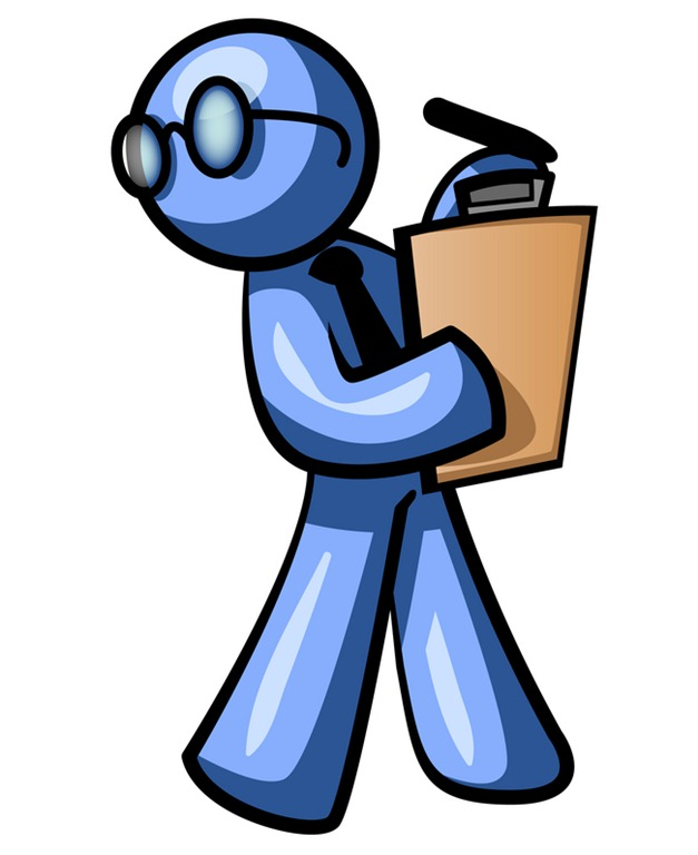 Blue Man Holding A Clipboard While Reviewing Employess Clipart