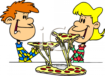 Cartoon Clipart Picture Of Two Children Eating Pizza   Foodclipart Com