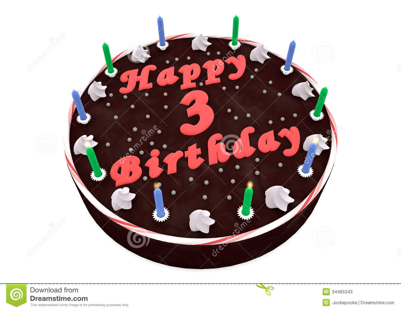 Chocolate Cake For 3rd Birthday Stock Photos   Image  34465343