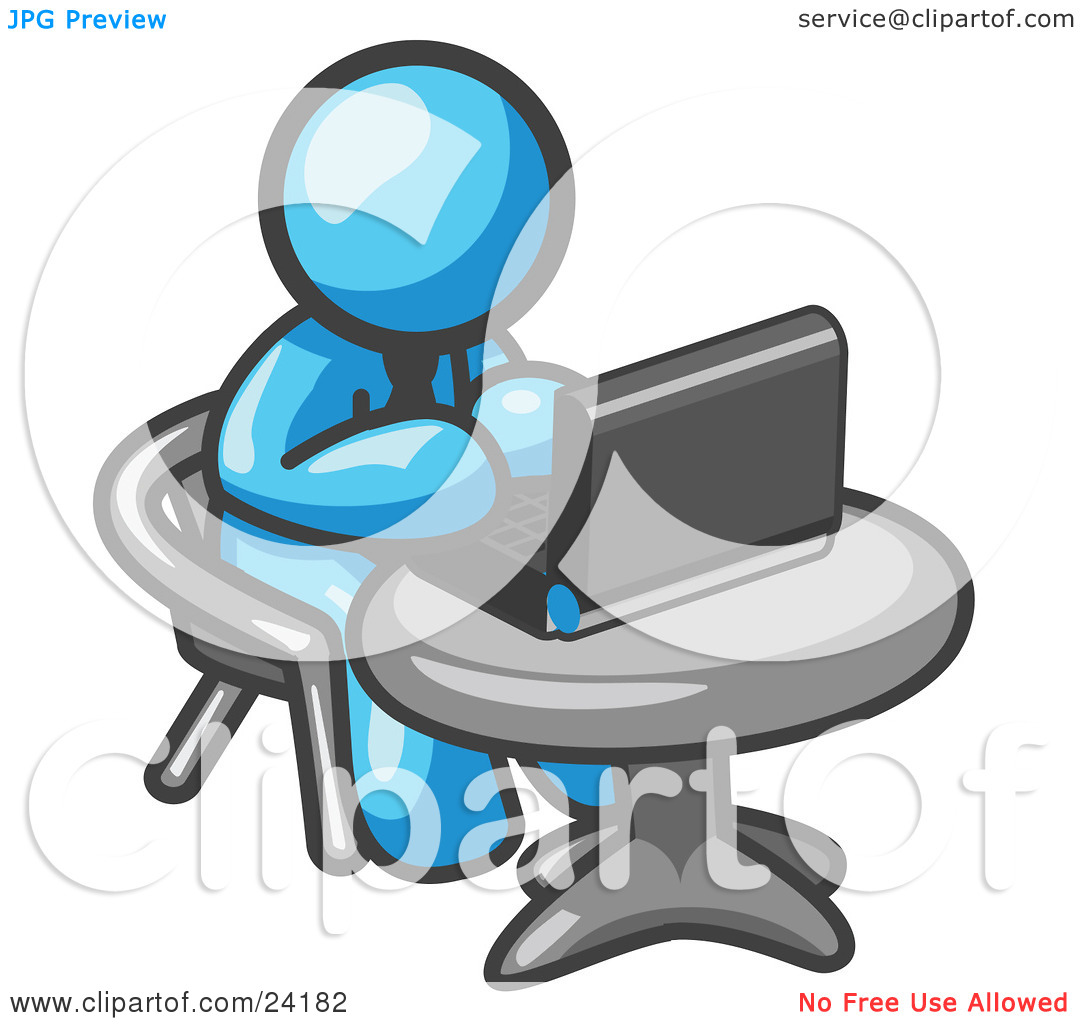 Clipart Illustration Of A Light Blue Man Working On A Laptop Computer