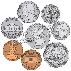 Coins Clipart For Teachers Clip Art  Coin Set Color