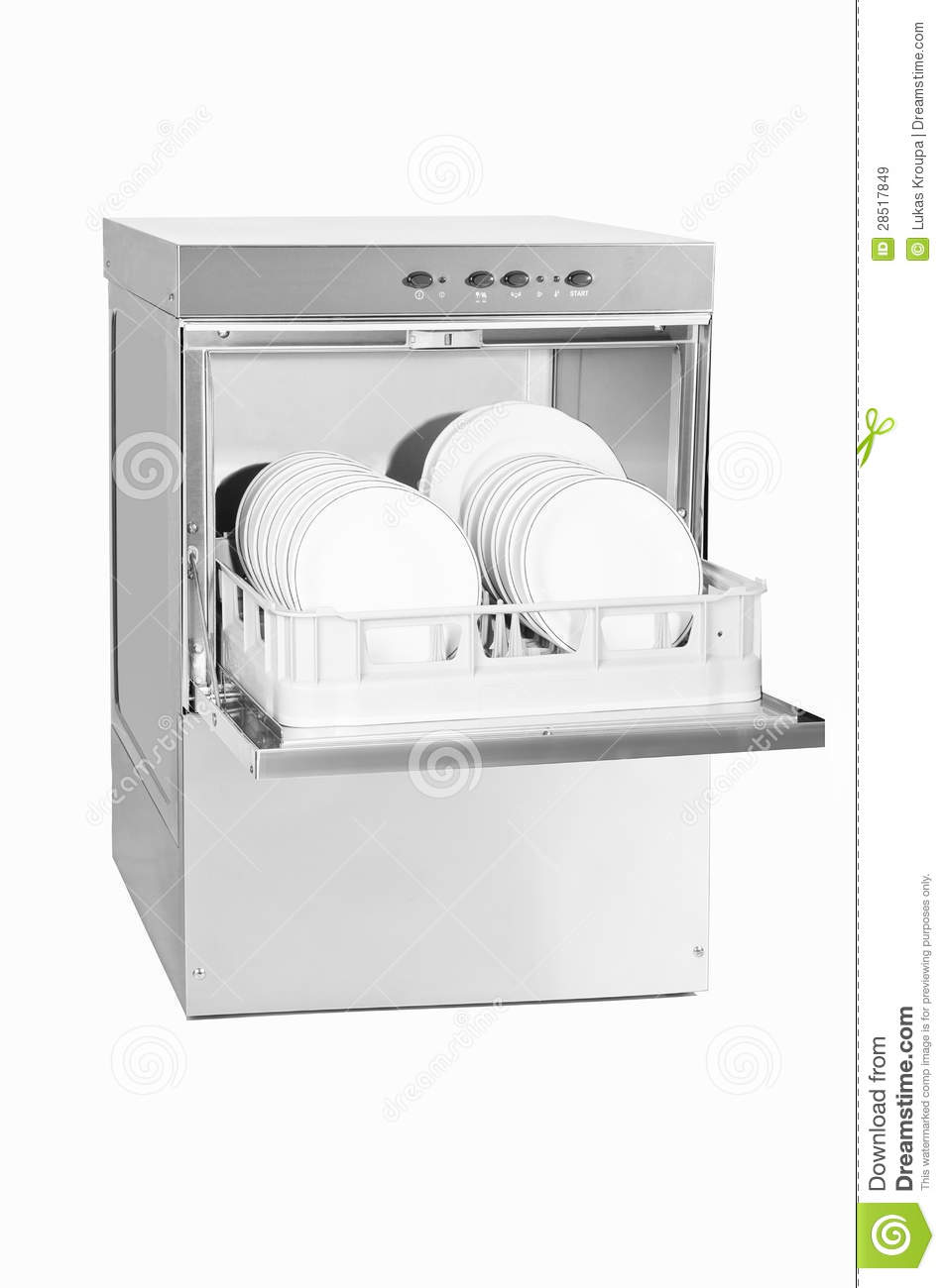 Dishwasher With Opened Door On White Background With Plates