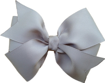 Inch Gray Hair Bow   Gray Bow Gr Ey Bow Silver Bow