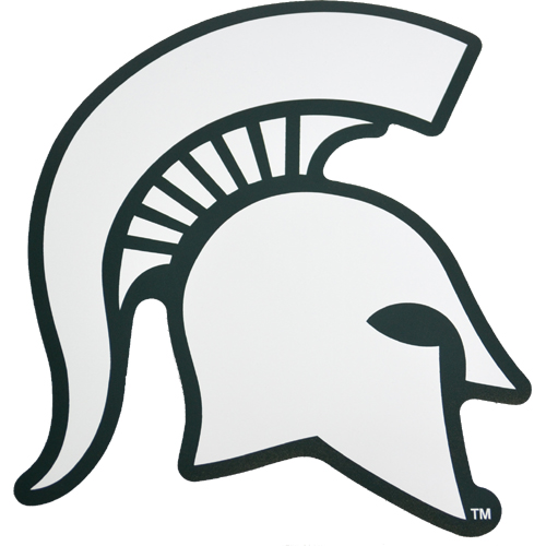Michigan State Spartan Helmet Magnet 11 White W Green Outline