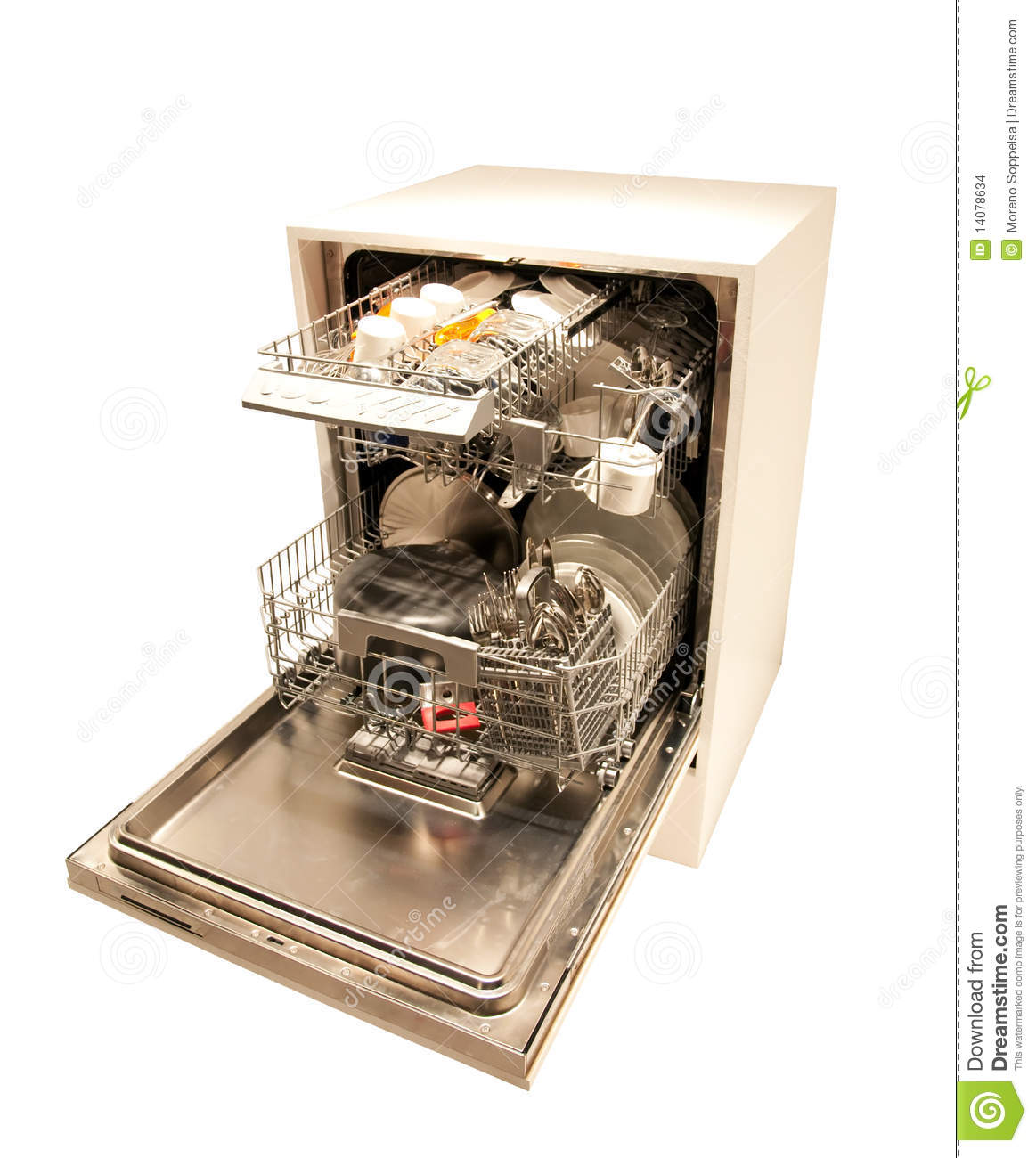 Modern Dishwasher Open Filled With Dishes And Cutlery Isolated On