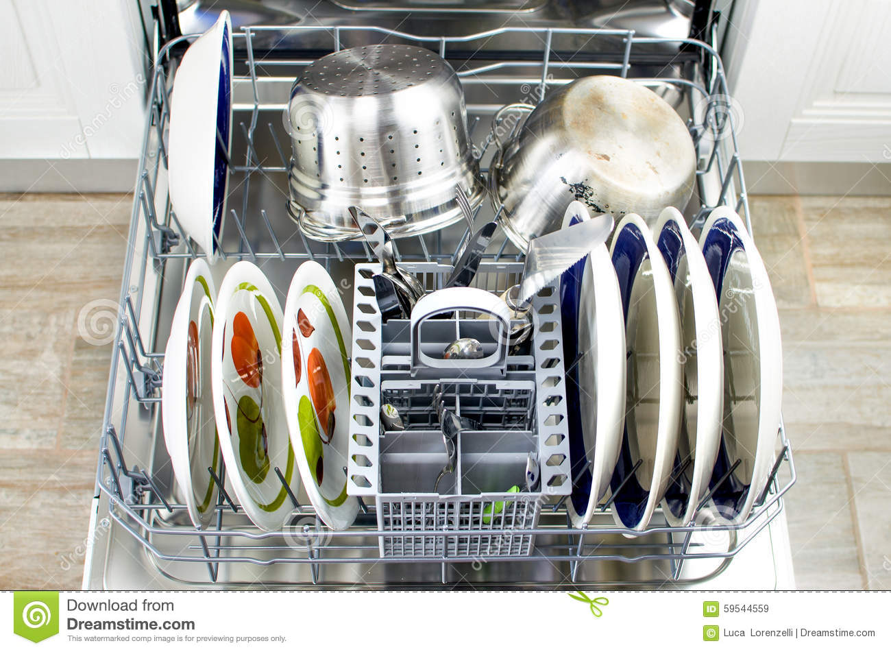 Open Dishwasher Cleaning Dishes Modern Kitchen