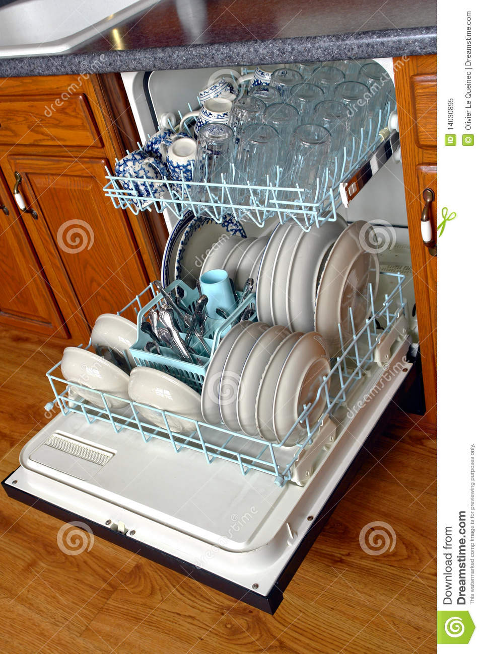 Open House Kitchen Dishwasher Full Of Dirty Dishes Royalty Free Stock