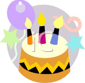 Simple Birthday Cake With Three Candles   Royalty Free Clipart Picture